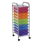 Multi-Colored Mobile Taboret w/ 10 Drawers