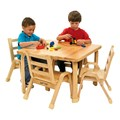 Natural Wood Table & Chair Set