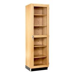 "Tall Wood Storage Cabinet w/ Glass Doors (24"" W)"