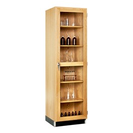 "Tall Wood Storage Cabinet w/ Glass Doors (24\"" W)"