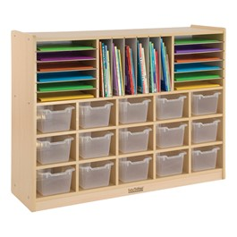 Multi-Section Cubby Unit w/ Clear Trays