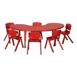 Kidney Resin Matching Table & Chair Set - Red