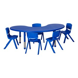 Kidney Resin Matching Table & Chair Set - Blue