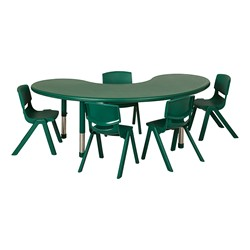 Kidney Resin Matching Table & Chair Set - Green