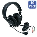 Pack of 10 Stereo Headsets w/ Boom Microphones