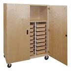 Mobile Storage Cabinet w/ Shelf & 24 Tote Trays