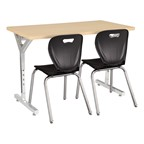 Adjustable-Height Y-Frame Two-Student Desk & 18-Inch Shapes Series School Chair Set