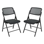 ProGrid Seat & Back Deluxe Folding Chair (Pack of Two) - Black frame