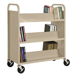 Double-Sided Sloped-Shelf Book Truck - Shown in putty