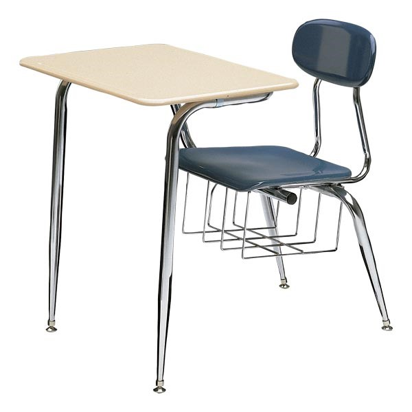 school desk and chair combo. 680 series combo school desk - shown w/ solid plastic top \u0026 blue seat and chair