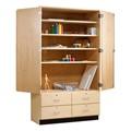 Tall Wood Storage Cabinet w/ Drawers