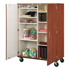 Tall Mobile Shelf Storage Cabinet - Shown w/ doors & 10 compartments
