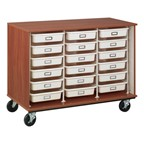 Counter-Height Mobile Heavy-Duty Tray Storage Cabinet - Cherry