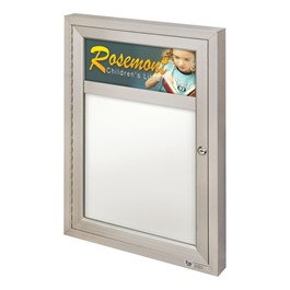 Indoor Enclosed Dry Erase Board w/ One Door & Header