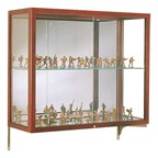 Heirloom 894 Series Wall-Mounted Display Case - Shown w/ cordovan hardwood finish & mirror back