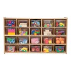 20-Tray Wooden Storage Unit - Assembled & w/ Clear Trays - Accessories not included