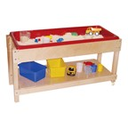 Sand & Water Table w/ Lid/Shelf - Removable bottom shelf doubles as a lid