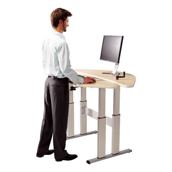 Adjustable Height Bi-Level Corner Computer Workstation