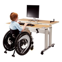 Adjustable-Height Bi-Level Computer Workstation – Hand Crank Adjustment