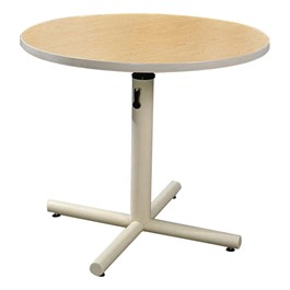 ADA Adjustable-Height Pedestal Table - Hydraulic lift table shown