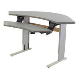 Adjustable Height Bi-Level Corner Computer Workstation – Power Adjustable