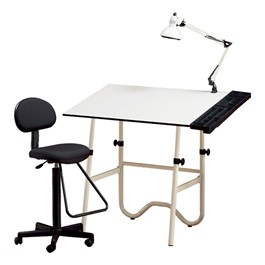 Onyx Drafting Table, Drafting Stool & Swing-Arm Lamp Set<br>Shown w/ White Top