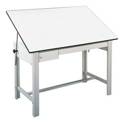 DesignMaster Steel Drafting Table w/ Drawers - Shown w/ gray base