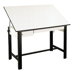 DesignMaster Steel Drafting Table w/ Drawers - Shown w/ black base