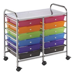 Multi-Colored Mobile Taboret w/ 12 Drawers