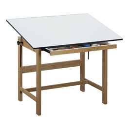 Titan Oak Drafting Table w/ Drawer