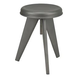 Adjustable-Height Metal Round Stool - Gun Metal