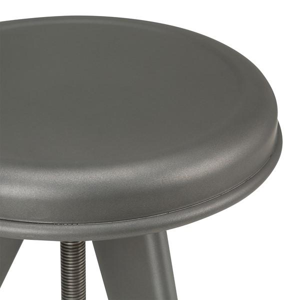 Adjustable-Height Metal Round Stool - Gun Metal - Seat