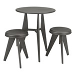 Metal Round Café Table w/ Two Adjustable-Height Stools
