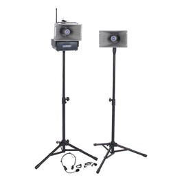 Half-Mile Hailer Speaker System - Deluxe Package w/ Wireless Lapel & Headset Mic