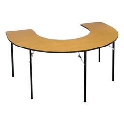 Horseshoe Table Wheelchair Accessible - Folding - Barrister oak top w/ black edge band