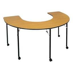 Horseshoe Table Wheelchair Accessible - Folding - Barrister oak top w/ black edge band - Shown w/ optional casters