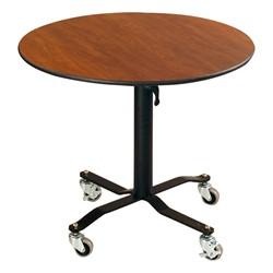 Round Mobile EZ-Tilt Adjustable-Height Cafe Tables - Lowered