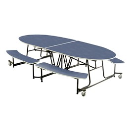 Elliptical Mobile Bench Cafeteria Table
