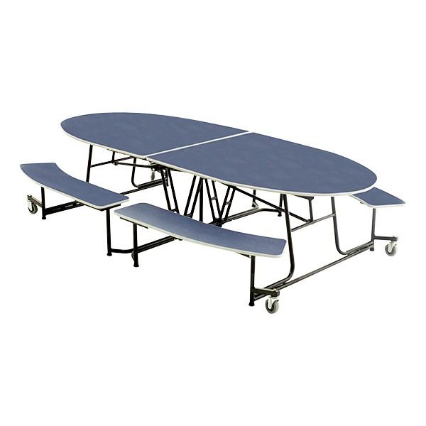 Elliptical Mobile Bench Lunchroom Table