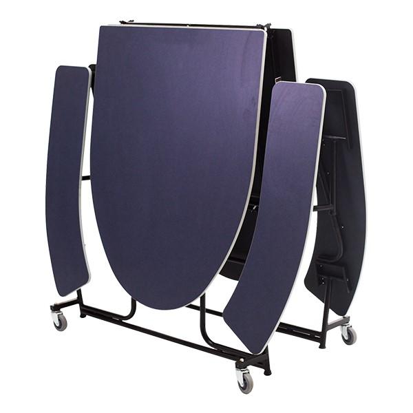 Elliptical Mobile Bench Lunchroom Table - Folded