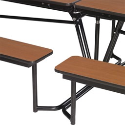 Mobile Bench Cafeteria Table - Additional bench access shown