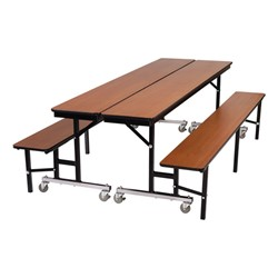 Mobile Convertible Bench Cafeteria Table - Two tables shown combined