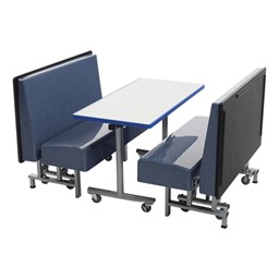 Mobile Folding Booth Seating - Blue Granite - Table not included