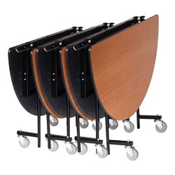 Mobile Cafeteria Table - Round - Four tables shown closed & nested
