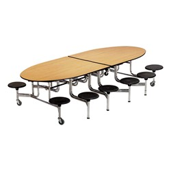"""Elliptical Mobile Stool Cafeteria Table w/ 12 Stools (60"""" W x 10' L)"""