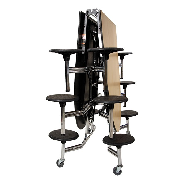 """Elliptical Mobile Stool Cafeteria Table w/ 12 Stools (60"""" W x 10' L) - Folded"""