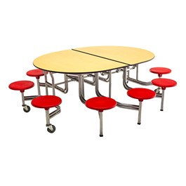 "Elliptical Mobile Stool Cafeteria Table w/ 10 Stools (66"" W x 6\' L)"