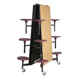 Mobile Stool Cafeteria Table - Shown folded