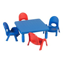 """Square Value Kids Table & Chair Set - Royal Blue Table - 12"""" Seat Height"""