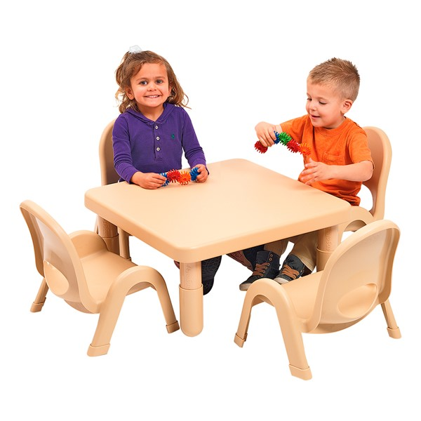 """Natural Tan Square Value Table & Chair Set (12"""" Table Height)"""